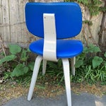 Image of Blue Vinyl and Light Grey Thonet Side Chair