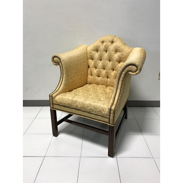 Vintage Fairington Mahogany Frame Button Tufted Arm Chair - Image 2 of 11