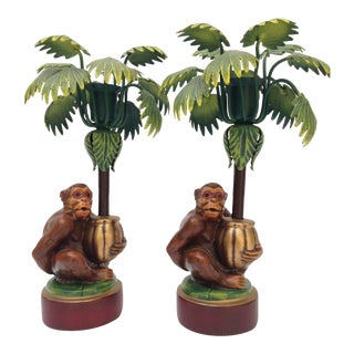 Petites Choses Monkey Palm Tree Candle Holders - A Pair