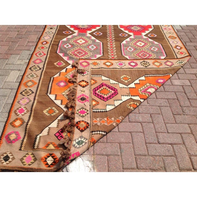 "Vintage Turkish Kilim Rug - 6'5"" X 11'6"" - Image 6 of 6"