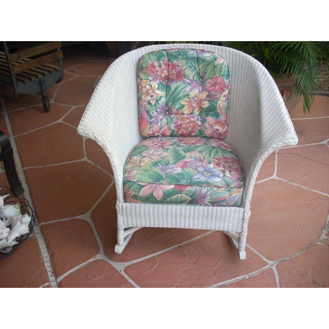 Contemporary Cottage Wicker Chair & Rocker - a Pair - Image 4 of 8