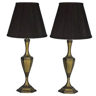 Two-Tone Brass Lamps - Pair