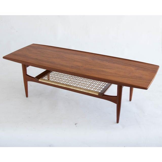 Danish Teak Coffee Table With Cane Shelf Chairish