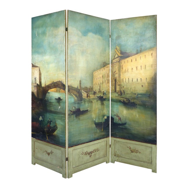 19th-C. Venetian Oil on Canvas Screen - Image 1 of 11