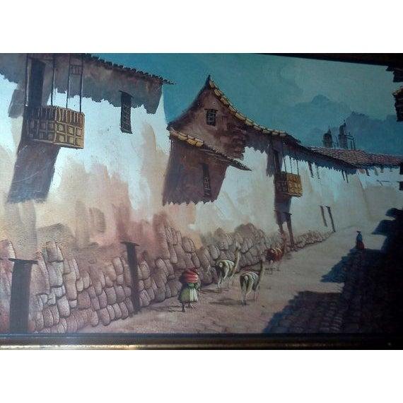 Image of Vintage Peruvian Street Scene Oil Painting