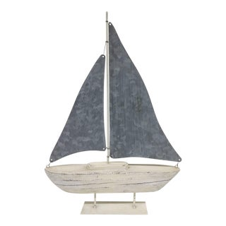 Vintage Hand Carved Wood & Galvanized Sailboat