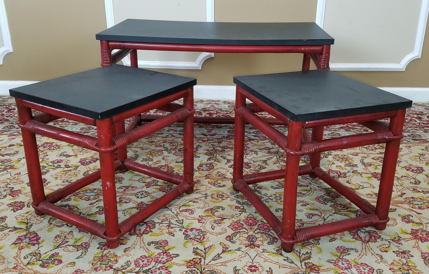 Vintage Ficks Reed Red Rattan Nesting Tables   Set Of 3   Image 3 Of 8