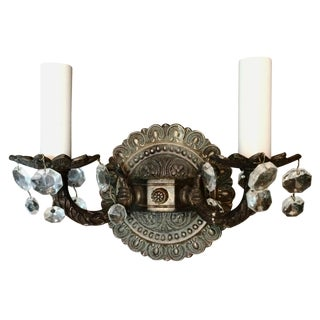 Vintage Brass Double Sconce with Crystals