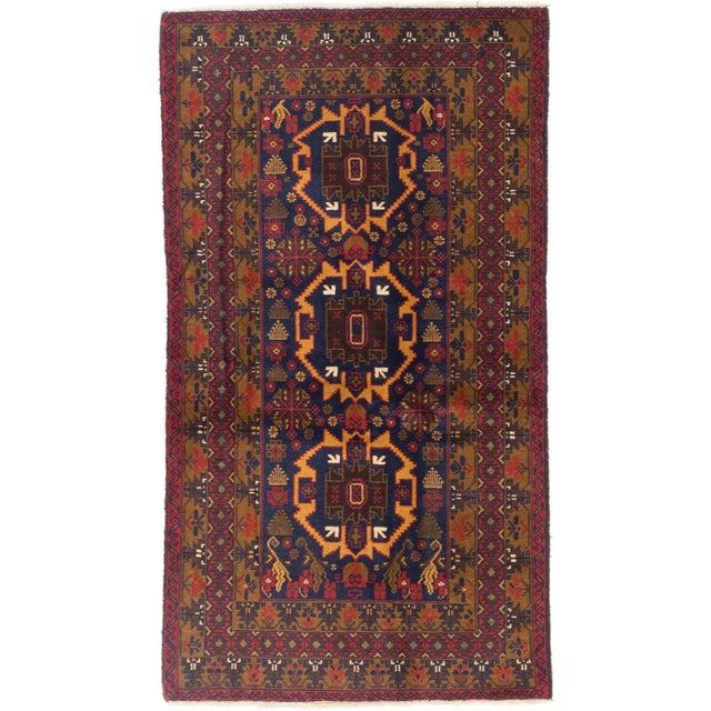 "Image of Semi-Antique Rizbaft Afghan Tribal Rug - 3'9"" x 7'"
