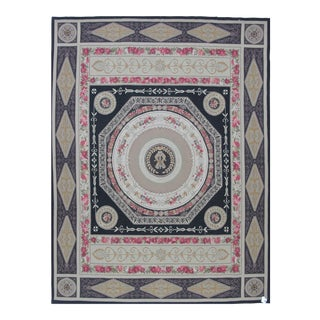 French Aubusson Design Hand Woven Wool Rug - 10' X 14'