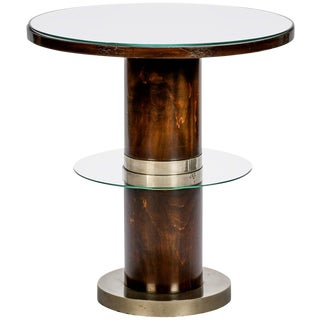 French Art Deco Macassar and Glass Table with Chrome Base