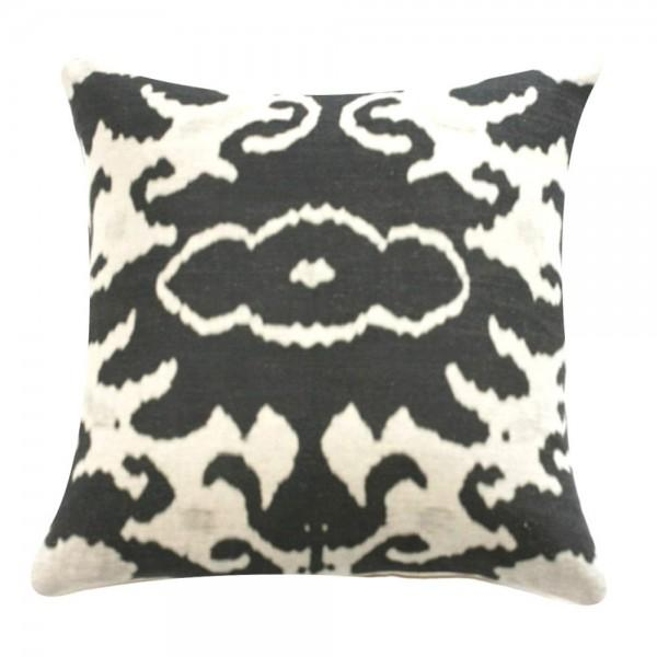 Image of Black & Cream Ikat Print Pillow