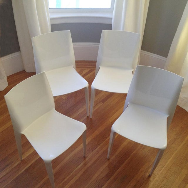 White High Gloss Bellini Chairs - Set of 4 - Image 2 of 5
