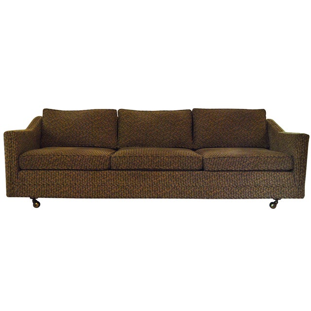 Low profile mid century three seater sofa chairish for Low height sectional sofa