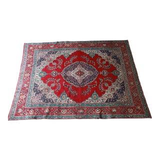 Vintage Hand-Woven Persian Tabriz Rug - 9′10″ × 12′5″