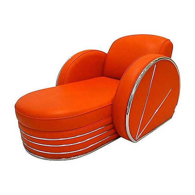 Vintage Art Deco Red & Chrome Chaise Lounge Chair - Image 3 of 4