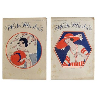 Antique 1920s French Fashion Illustrations - Pair