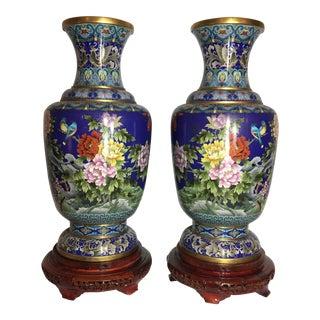 Cloisonné Enameled Vases - A Pair