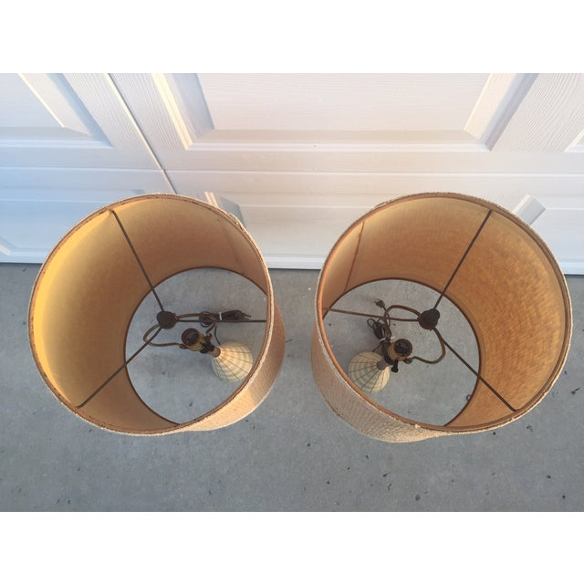 Mid-Century Ceramic & Walnut Lamps - Pair - Image 9 of 10