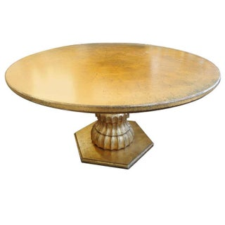 Hollywood Regency Round Dining Table in Gold Leaf