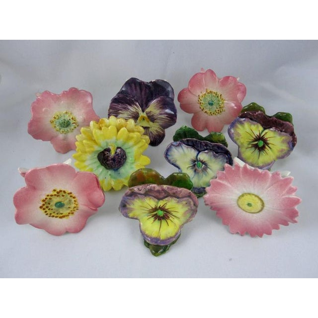 Image of Delphin Massier French Majolica Pink Floral Place Card Holders - Set of 4