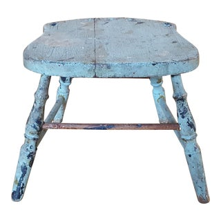 Vintage Blue Chippy Wood Stool