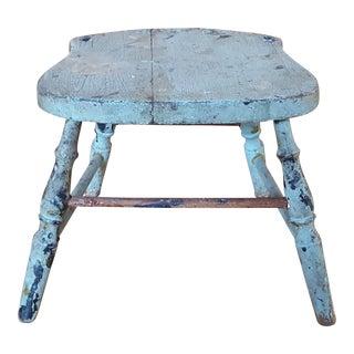 Vintage Blue Chippy Wood Stool