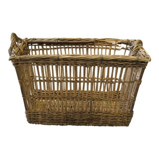 Large French Wicker Handled Laundry Basket