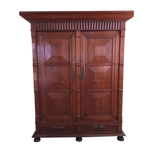 Solid Teak Art Deco Wood Armoire - Image 1 of 7