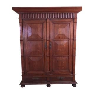 Solid Teak Art Deco Wood Armoire