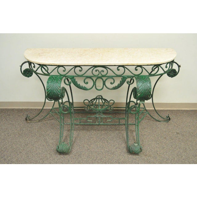 Italian Regency Style Green Wrought Iron Marble Top Console Table - Image 2 of 11