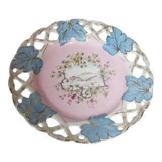 German Pink & Blue Decorative Plate