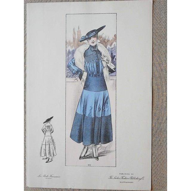 Image of French Fashion Print C.1920 Folio Size