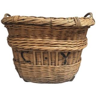 Earthy French Hand Woven Wicker Basket