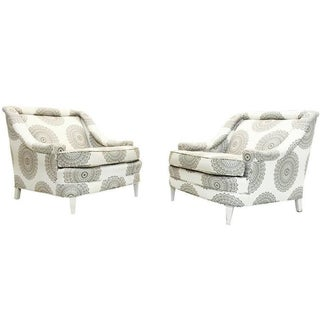 Reupholstered Gray And White Armchairs - Pair