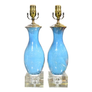 Glazed Blue Porcelain Table Lamps - A Pair