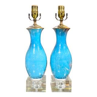 Glazed Blue Porcelain Table Lamps - A Pair