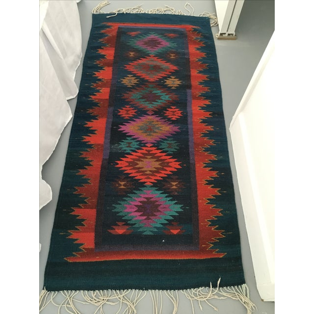 Vintage Handmade Reversible Navajo Arrows Rug - Image 6 of 8