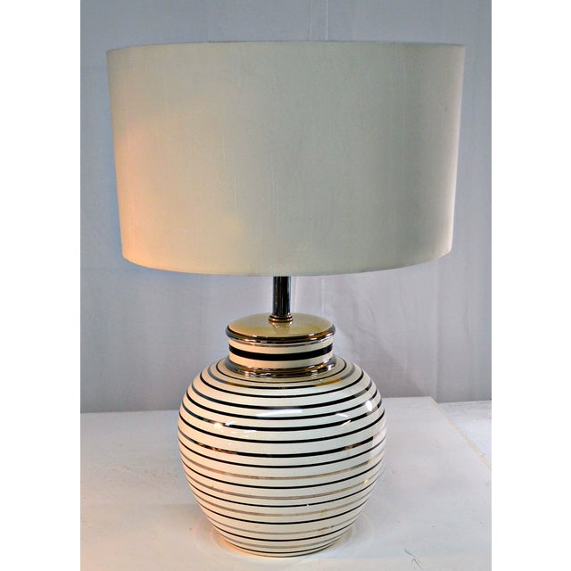 Image of Mid Century Bowl Table Lamp & Drum Shade