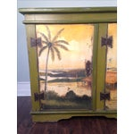 Artiero Brazil Tropical Palm Tree Hand Painted Credenza