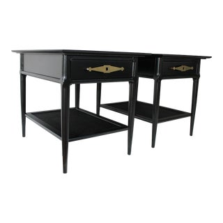 Vintage Tomlinson Satin Black Lacquered Side Tables - a Pair