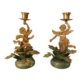 Brass & Marble Cherub Candle Holders - A Pair
