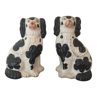 English Staffordshire Black & White Dogs - A Pair