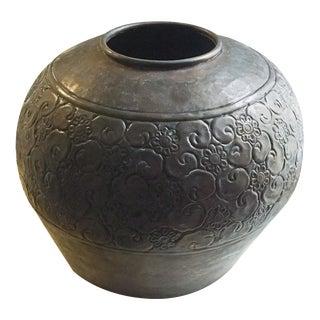 """Large Vintage 14"""" W Brass Vase"""