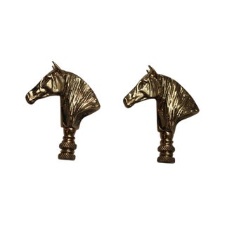 Brass Horse Head Lamp Finials - A Pair