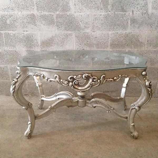 silver and glass elegant coffee table chairish. Black Bedroom Furniture Sets. Home Design Ideas
