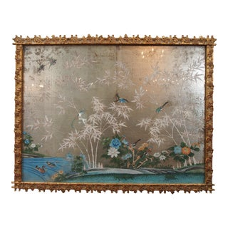 NICELY FRAMED HAND PAINTED AND SILVERED WALLPAPER PANEL