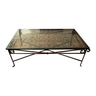 Glass Coffee Table With Wrought Iron Base