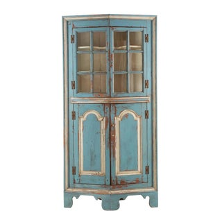 American Blue and White Painted Raised Panel Corner Cabinet