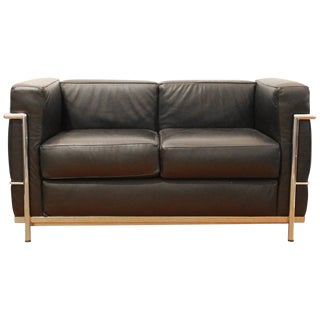 Black Leather Alivar Loveseat